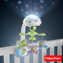美國Fisher price 三合一投影小熊床鈴(附遙控)